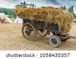 Wheeled Cart Full Of Hay Stack