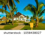 open church on a beach at... | Shutterstock . vector #1058438027