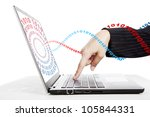 Businesswoman hand pressing the enter key surrounded by binary code. Shot in studio isolated on white - stock photo