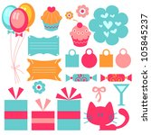 a set of cute birthday elements | Shutterstock .eps vector #105845237
