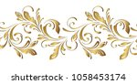 Golden floral pattern. Ornamental seamless border. Flowery swirls and flowers. Decorative design element for background.