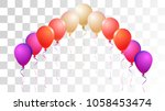 realistic helium balloons... | Shutterstock .eps vector #1058453474