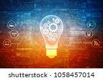 bulb future technology ... | Shutterstock . vector #1058457014