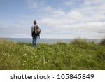 female walker on the isle of...   Shutterstock . vector #105845849
