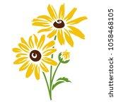 echinacea flower silhouette.... | Shutterstock .eps vector #1058468105