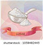 white sugar in metallic spoon.... | Shutterstock .eps vector #1058482445