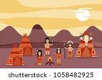 native american people cartoon | Shutterstock .eps vector #1058482925