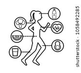 runner woman healthy lifestyle... | Shutterstock .eps vector #1058492285
