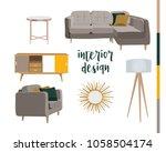 set of sitting room furniture.... | Shutterstock .eps vector #1058504174