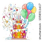 birthday cake with balloons and ... | Shutterstock .eps vector #1058511617