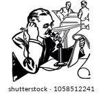 press reporter on phone   retro ... | Shutterstock .eps vector #1058512241