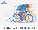 cycling race stylized... | Shutterstock .eps vector #1058542124