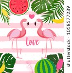 cute flamingo love background...   Shutterstock .eps vector #1058577239
