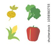 vegetables icon set with 4... | Shutterstock .eps vector #1058583755