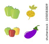 vegetables icon set with 4... | Shutterstock .eps vector #1058583809