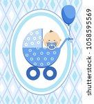 a little boy in a blue stroller.... | Shutterstock .eps vector #1058595569