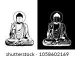sitting buddha vector...   Shutterstock .eps vector #1058602169