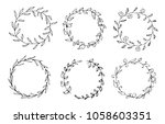 set of hand drawn vector round... | Shutterstock .eps vector #1058603351