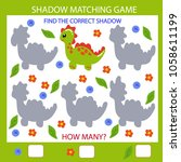 shadow matching game. find the... | Shutterstock .eps vector #1058611199