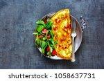 homemade mushroom omelette with ... | Shutterstock . vector #1058637731