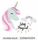 cute lovely unicorn vector for... | Shutterstock .eps vector #1058645354