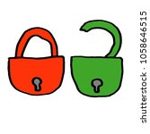 lock unlock icon. vector green...   Shutterstock .eps vector #1058646515