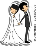 wedding picture  bride and...   Shutterstock .eps vector #105864779