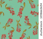 seamless floral pattern with... | Shutterstock .eps vector #1058663654