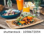 grilled vegetable stack made of ... | Shutterstock . vector #1058672054