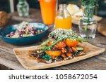 grilled vegetable stack made of ... | Shutterstock . vector #1058672054