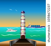 lighthouse by the sea  cargo... | Shutterstock .eps vector #1058672237