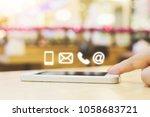 woman hand pushing button... | Shutterstock . vector #1058683721