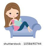 young woman relaxing and... | Shutterstock .eps vector #1058690744