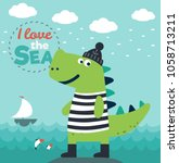 funny dinosaur in sailor... | Shutterstock .eps vector #1058713211