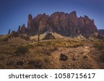 Iconic view of Superstition Mountains and Saguaro cacti in Lost Dutchman State Park, Arizona from Treasure Loop Trail