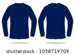 navy long sleeve t shirt  slope ... | Shutterstock .eps vector #1058719709