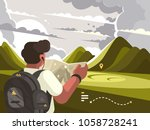traveler man with map planning... | Shutterstock .eps vector #1058728241