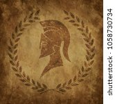 spartan helmet an icon on old...   Shutterstock .eps vector #1058730734