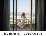 the bride in the wedding... | Shutterstock . vector #1058736575
