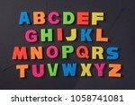 english alphabet of plastic... | Shutterstock . vector #1058741081