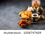 eid mubarak with arabic coffee... | Shutterstock . vector #1058747609
