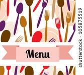 restaurant menu design with... | Shutterstock .eps vector #105875519