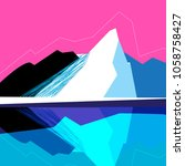 vector mountain landscape on a... | Shutterstock .eps vector #1058758427