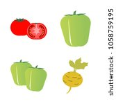 vegetables icon set with 4... | Shutterstock .eps vector #1058759195