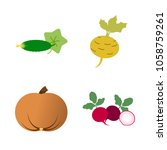 vegetables icon set with 4... | Shutterstock .eps vector #1058759261