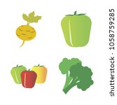 vegetables icon set with 4... | Shutterstock .eps vector #1058759285