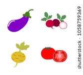 vegetables icon set with 4... | Shutterstock .eps vector #1058759369