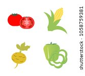 vegetables icon set with 4... | Shutterstock .eps vector #1058759381