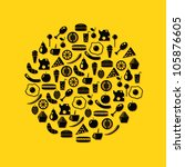 food icons in circle  yellow... | Shutterstock .eps vector #105876605