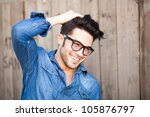 handsome young man smiling... | Shutterstock . vector #105876797